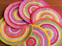 Hooks and Loops Colourful Round Crochet Placemats